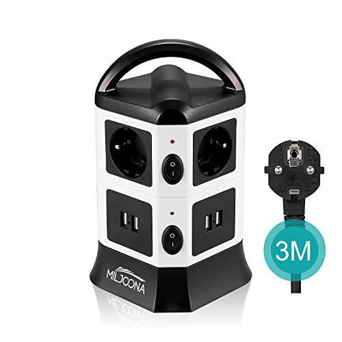 Multipresa Ciabatta Elettrica Verticale a 6 Prese Schuko e 4 Porte USB, 3M cavo presa multipla con Interruttore Indipendente, 2500W/10A