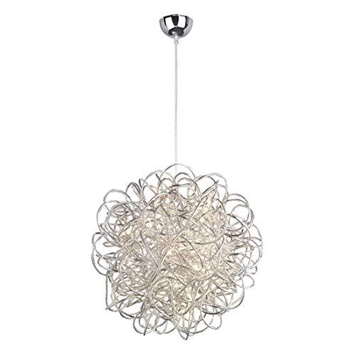 LED Pendelleuchte Aluminiumdraht-Licht Runde Drahtkugel Design Pendel -Lampe 40 Cm Silber Weiß Moderne Elegante Wohnzimmer Schlafzimmer Lamp Höhenverstellbar 36Pcsx0.3W /PCS Warmweiß