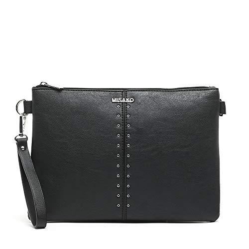 MISAKO Bolso Pequeño de Mujer GALINA - Bolso Negro de mano y bolso bandolera - Estilo Elegante en Polipiel - 1x30x21cm