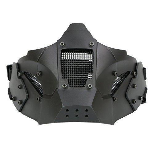 LEJUNJIE Halbmaske Taktik Gesichtsschutz Metall Mesh Maske Militär Stil Bequeme Verwendung mit Quick Helm für Air Gun/Jagd/Paintball Shooting (grün), Schwarz