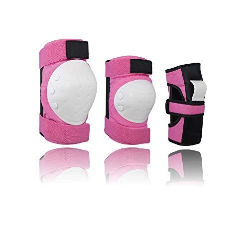 Yuede Protektoren Set, Knieschoner Kinder Schoner Schutzausrüstung Set 6 in 1 mit Ellbogenschützer Knieschützer Armbänder für Kinder Skater, Rollerblading, Skateboard, Roller, Fahrradfahren, Pink
