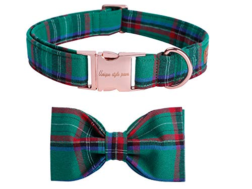 USP Pet Soft&Comfy Bowtie Dog Collar and Cat Collar Pet Gift for Dogs and Cats Adjustable Pure Cotton Collars 6 Sizes and 5 Patterns