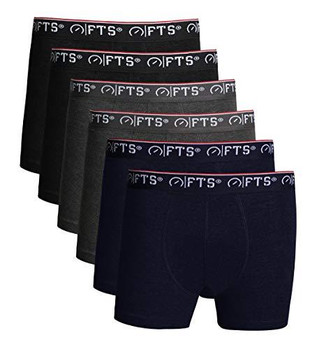FULL TIME SPORTS® Herren Baumwolle Nahtlose Boxershorts & Unterhosen, Classic Fit Multipack Unterwäsche Trunks Briefs, 6er Pack(SCHWARZ, Holzkohle & Marine, Large)