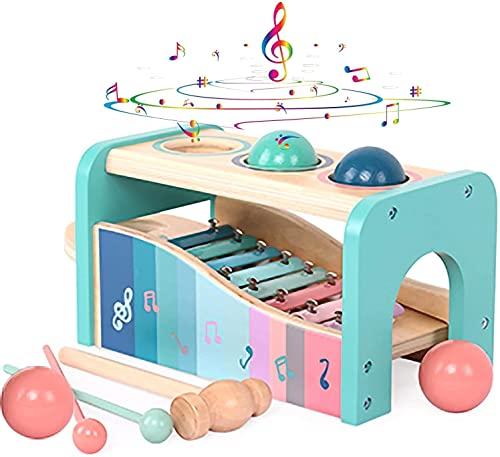 Xylophon und Hammerspiel Spielzeug mit Xylophon   Montessori Pädagogische Vorschullernenab 1 jahr  Multifunktional Musikspielzeug   Holzspielzeug Geburtstagsgeschenk fur Kinder Baby 1 2 3 Jahre