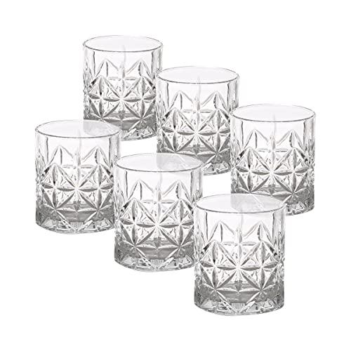 UNISHOP Set de 6 Vasos de Agua, Vasos de Cristal Transparentes de 350ml, Aptos para Lavavajillas y Microondas