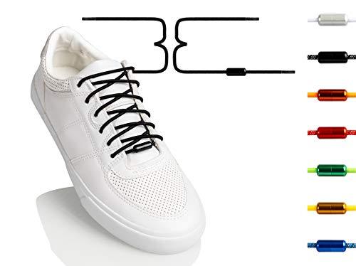 BETTER THREE LACES elastische Schnürsenkel mit Aluminium Verschluss | 100 cm lang & 3 mm | Schnürsenkel ohne Binden und Nachziehen - Einfach rein und los - Auch für dich geeignet! (Schwarz)