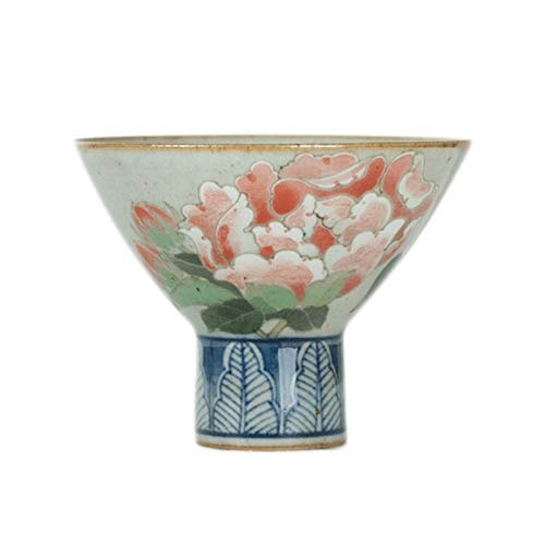 YANGYUAN Ceramic Sake Cup Water Cup Decorative Drinking Cup Chinese Tea Cup Peony Flower - Traditional Kung Fu Tea Cup, Gift, Zen and Tea Art, 85ML (Color : A)