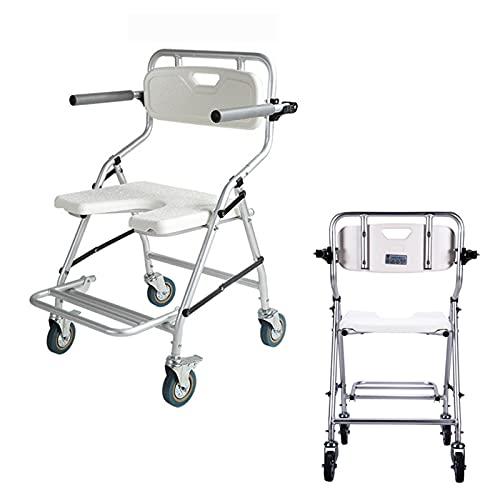 WDDMFR Ruedas para el Inodoro de la Ducha, Transporte Aseo de la Noche con Ruedas, Altura de Silla de Ruedas y Pedal Ajustable, para discapacitados, Ancianos, deshabilitados.
