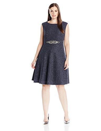 Eliza J Women's Plus Size Glitter Fit and Flare Dress, Steel, 16W