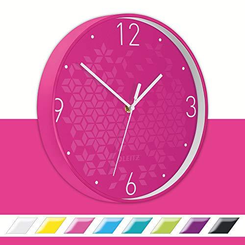 Leitz Reloj de Pared Wow, Rosa, Fucsia, 32.5 x 31.1 cm