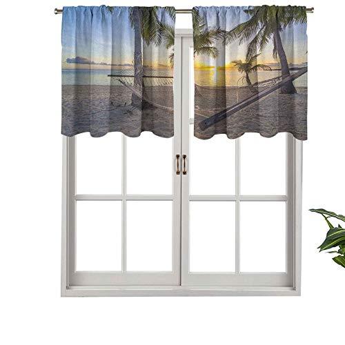 Short Valance Curtains Light Blocking Paradise Beach with Hammock Coconut Palm Trees Horizon Coast, Set of 1, 54'x18' Window Curtain Drapes for Living Room