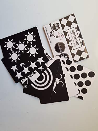 Bebedou Carte d'Arte Bambino * 7 Carte ad Alto Contrasto in Bianco e Nero per Lo Sviluppo del Bambino, Regalo Neonato