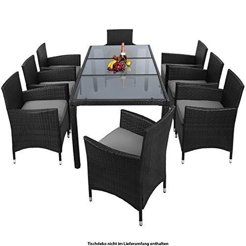 Montafox 17-teilige Polyrattan Garten Essgruppe Terasse Sitzgruppe 8 Personen Gartenmöbel mit Kissen und Bezügen, Farbe:Titan-Schwarz/Kieselstrand - 2