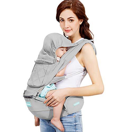 Windsleeping Babybauchtragen Babytrage, Bauchtrage, Rückentrage Neugeborene 6 Position - für Neugeborene & Kleinkinder (0-20 kg) - Grau