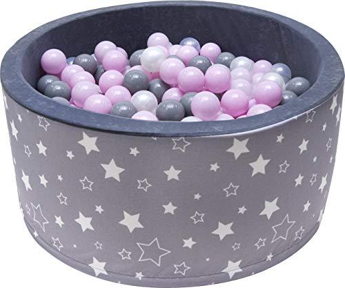 Rainbow Kids Luxus Bällebad mit 200 Bällen Ø 7cm mit Druck Bällepool Baby Bälle Spielbälle Spielbad Kugelbad Bällchenpool Zertifiziert 90x40cm (Sterne - Grau)