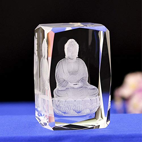 Lucky House Crystal Glass Cubic Eagle Fish Town Paper 3D Laser Sculpture Statue Feng Shui Souvenir Craft Gift (Buddha Statue)