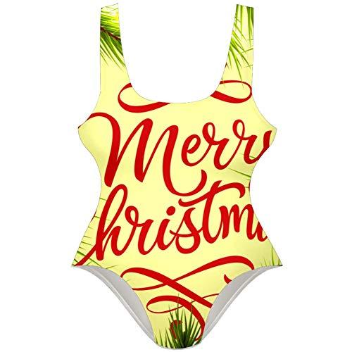 TIZORAX Damen Badeanzug Merry Christmas Schriftzug mit Tannenzweigen, einteilig Gr. S, mehrfarbig