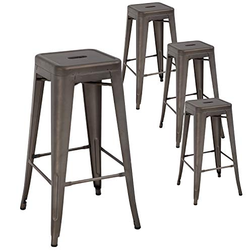 Metal Bar Stools Set of 4 Counter Height Barstool Stackable Barstools 24 Inch 30 Inch Indoor Outdoor Patio Bar Stool Home Kitchen Dining Stool Backless Bar Chair (Gun, 30')
