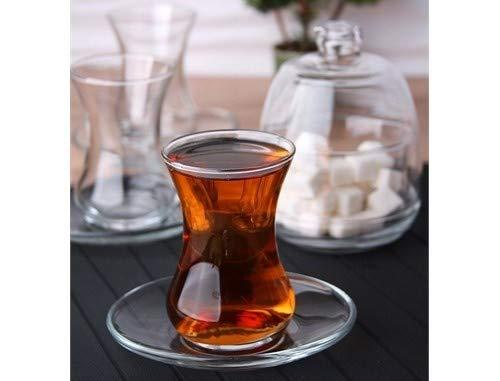 12er Tee Set   Teegläser   Untertassen   Zuckerschale   Erdbeerschale   Glas   100ml Teeglas
