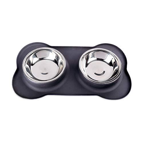 Schramm® Edelstahl Fressnapf Hundenapf Matte Silikon Napfunterlage rutschfest in 2 Größen 400ml / 750ml Futterstation Fressnäpfe Doppelstation Näpfe für Hund Katze, Größe:36.5 x 21 x 3.4 cm