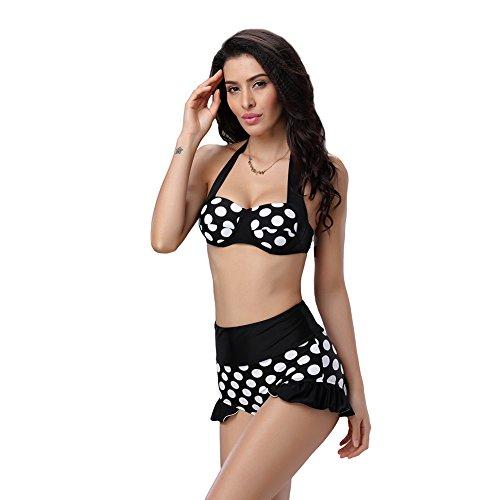 Wawoo® de Alta Cintura formación Bañador 2Piezas para Mujer Lunares Push Up Bikini Halter con Parte Inferior