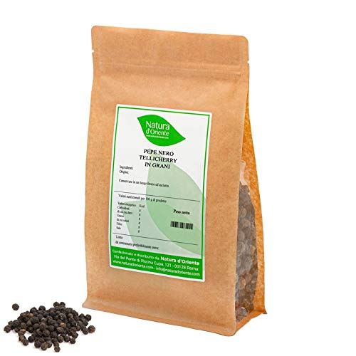 NATURA D'ORIENTE - Pepe nero in grani Tellicherry 1 Kg   100% di Qualità