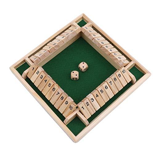 FSXZM 4 Spieler Shut The Box Set Holztisch Brettspiel mit Würfeln Traditionelles klassisches Würfelzahl Puzzlespielzeug für Kinder Kinder