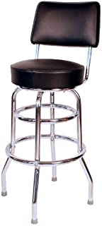 Richardson Seating Double Ring Swivel Bar Stool with Back Chrome Frame and Seat, Black, 30