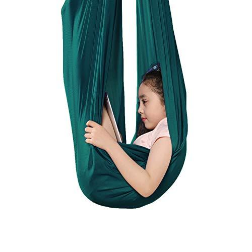 WCX Sensorische Schaukel Indoor Therapie Schaukel Kinder Hängematte Mesh Tuch für Kinder mit besonderen Bedürfnissen, Autismus ADHS Ultra weich verstellbar (Farbe: Dunkelgrün, Größe: 100 x 280 cm)