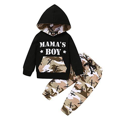 Miyanuby Baby Jungen Kleidung Set Brief Gedruckt Kapuzen Pullover T-Shirt Tops + Camouflage Hosen Outfit Set