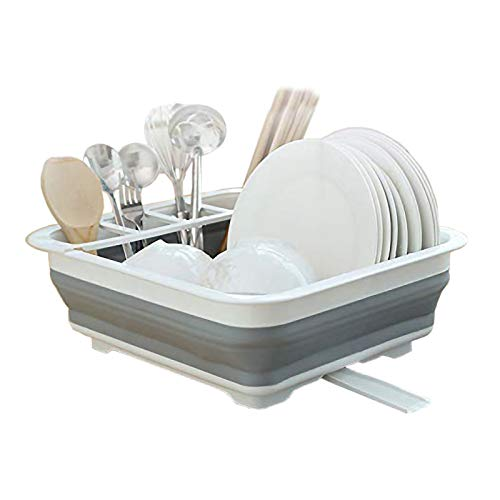 Ahyuan Escurridor de platos enrollable sobre el fregadero, estante de secado enrollable, escurridor de platos para fregadero de cocina, estante de secado enrollable SUS304 de acero inoxidable, Blanco/Gris