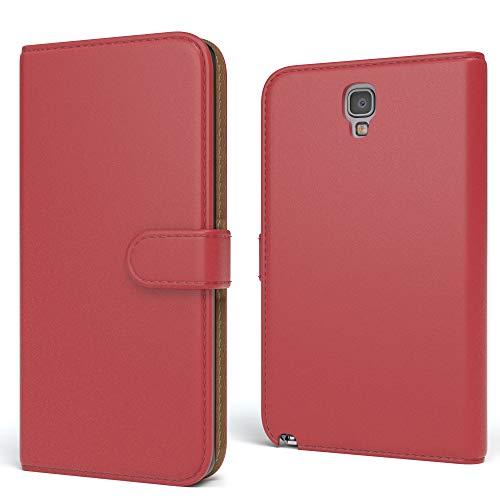EAZY CASE Tasche für Samsung Galaxy Note 3 Neo Schutzhülle mit Standfunktion Klapphülle im Bookstyle, Handytasche Handyhülle Flip Cover mit Magnetverschluss & Kartenfach, Kunstleder, Rot