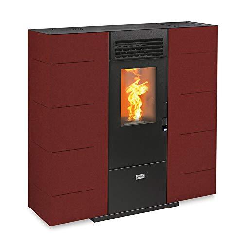 Stufa a pellet 6.5 kw ventilata slim riscaldamento 160mc CONSUELO65 Bordeaux
