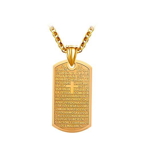 316L Edelstahl Anhänger Halskette Spanien Bibel Lords Prayer Cross Skateboard Halsketten Für Männer