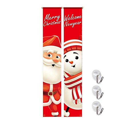 Frohe Weihnachten Banner 2020 Neujahr Weihnachten Couplets Red Bright Porch Garland Zeichen Hängende Wandtür für Party Outdoor Indoor Decor