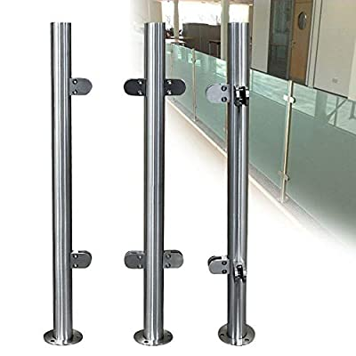 """Glass Railing Post Glass Balustrade Railing Post 304 Stainless Steel Railing Fence Pole Handrail Garden Fencing 90-110CM (43"""" End Post)"""