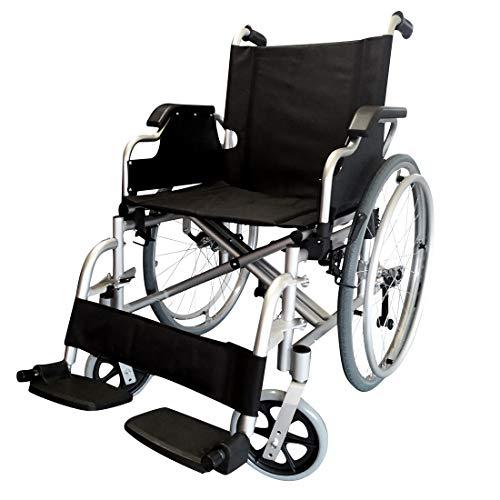 POLIRONESHOP OPERA sedia a rotelle con ruote estraibili pieghevole ad autospinta alluminio (Nero)