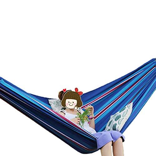 Fusmaker Hamaca portátil, perfecta para acampar y al aire libre o jardín, hamaca de viaje, silla columpio, carga máxima de 250 kg (336 x 160 cm), color azul