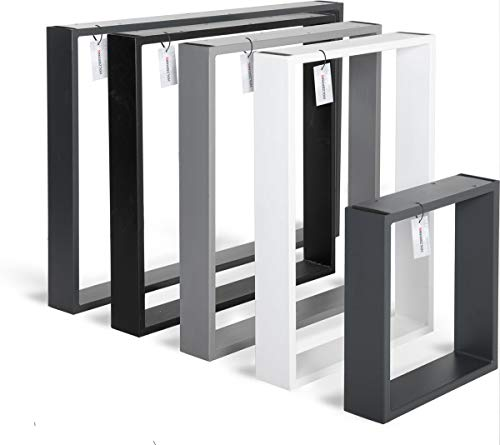 HOLZBRINK Tischkufen aus Vierkantprofilen 100x20 mm, Tischgestell 40x43 cm, Tiefschwarz, 1 Stück, HLT-01-A-BB-9005