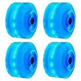 Lumineux Skateboard Roues, 4PCs / Ensemble Lumière Skateboard Roues Quad Roller Skate/Pour Double Rangée Patinage Et Skateboard - Bleu