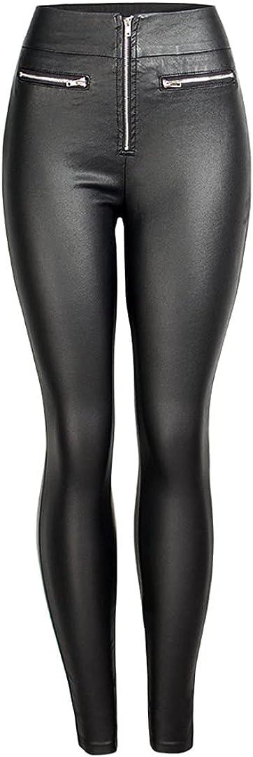 HEYDHSDC Black Pu Zipper Leather Pants High Waist Stretch Faux Leather Women Pencil Trousers 2XL