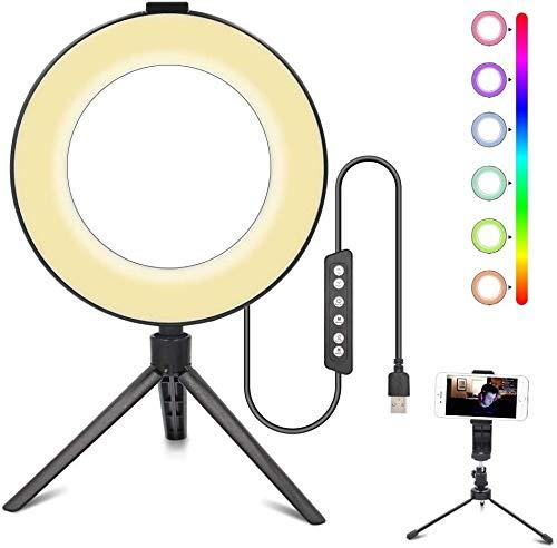 3T6B LED Selfie Ringlicht Stativ,Dimmbares RGB Ringlicht mit Cell Phone Halter,Desktop Lampe Licht für YoTube TikTok Instagram Videoaufnahme,Make-up,Fotografie,Porträt(6 Zoll mit 2 Stativ)
