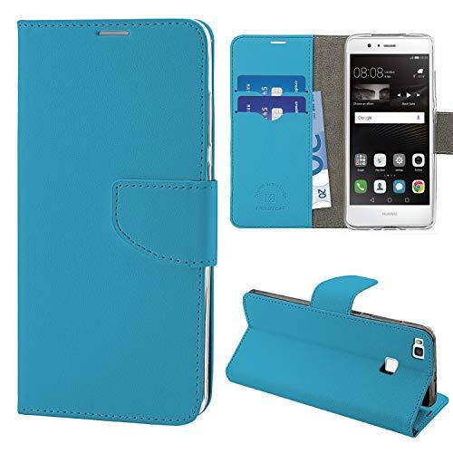 NewTop Cover Compatibile per Huawei P9/Lite/Plus, HQ Lateral Custodia Libro Flip Magnetica Portafoglio Simil Pelle Stand (per P9 Lite, Azzurro)