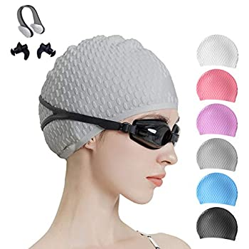 Tripsky Silicone Swim Cap,Comfortable Bathing Cap Ideal for Curly Short Medium Long Hair Swimming Cap for Women and Men Shower Caps Keep Hairstyle Unchanged  Swim Cap-Gray-earplug