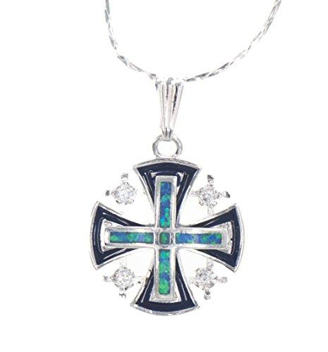 Jerusalem Kreuz Silber Anhänger mit Türkis Farben + Silber Halskette