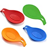 Poem 4 pcs/Set Reposapiés de Silicona para Cocina (Verde, Azul, Rojo, Naranja) Soporte para cucharas Resistente al Calor Colorido Utensilio de Cocina Cucharón Reposo para espátula