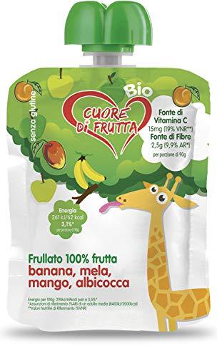 Cuore Di Frutta Frullato Di Frutta Bio Banana, Mela, Mango e Albicocca - Confezioni Da 90 Gr, 12 Unità