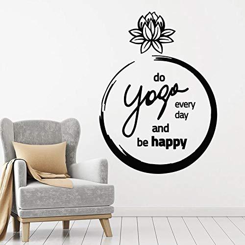 Las calcomanías de pared de loto son frases felices puertas y ventanas pegatinas de vinilo estudio de yoga meditación decoración de interiores papel tapiz arte