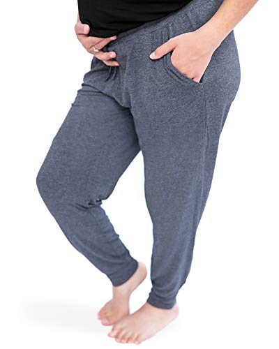 Kindred Bravely Everyday Maternity Joggers/Lounge Pants for Women (Grey Heather, Large)