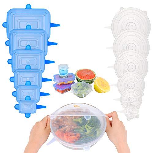 KATELUO 12 Pezzi Coperchi in Silicone Stretch, Coperchi in Silicone Estensibile, Coperchi per Alimenti in Silicone Riutilizzabili per Ciotole Lattine Bicchieri Tazze - BPA Free (Bianco+Blu)